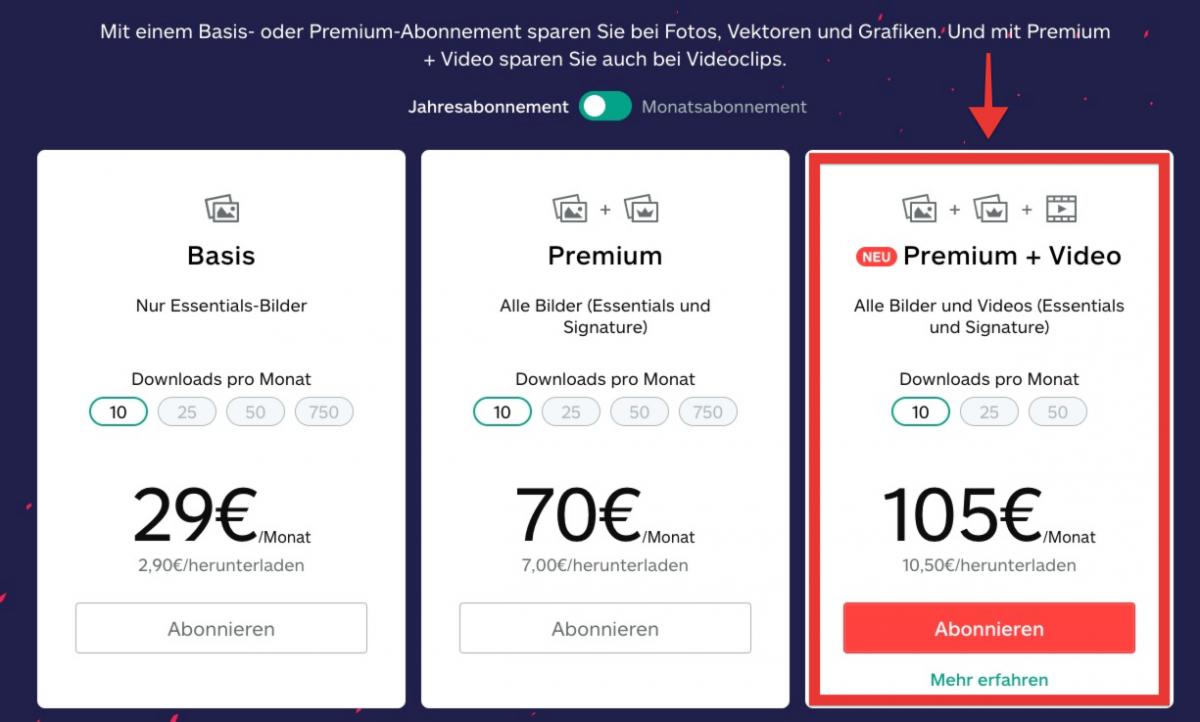 """NEU: Kostenfreier iStock-Video-Editor und neues Abo """"Premium + Video"""" - preise premium video"""