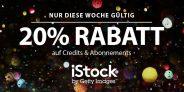 Cyber Week: 20% Rabatt auf alle Credits & Bildabos von iStock!